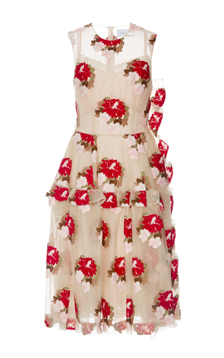 Tapestry floral ruffle trim dress  by SIMONE ROCHA Now Available on Moda Operandi