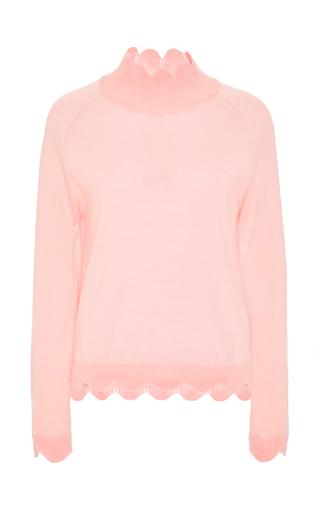Pink wool silk cashmere turtleneck knit with scalloped hem  by SIMONE ROCHA Now Available on Moda Operandi