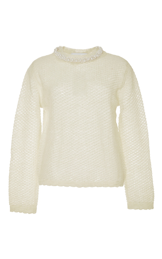 Wool mohair blend knit with pearl collar by SIMONE ROCHA Now Available on Moda Operandi