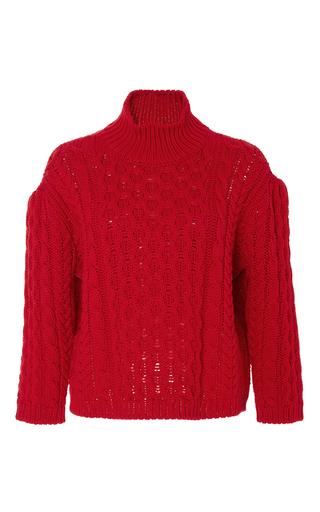 Red wool chunky knit turtleneck  by SIMONE ROCHA Now Available on Moda Operandi