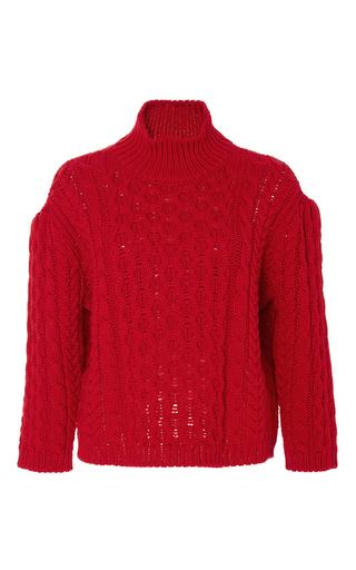 Red wool chunky knit turtleneck  by SIMONE ROCHA Now Available on Moda Operandi