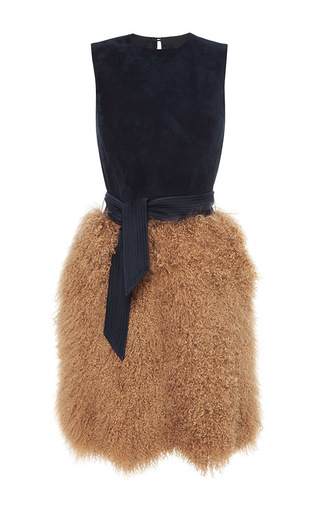 Suede sleeveless dress with shearling skirt by MARTIN GRANT Now Available on Moda Operandi