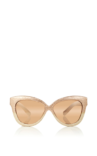 Rose gold snakeskin cat eye sunglasses by LINDA FARROW Now Available on Moda Operandi