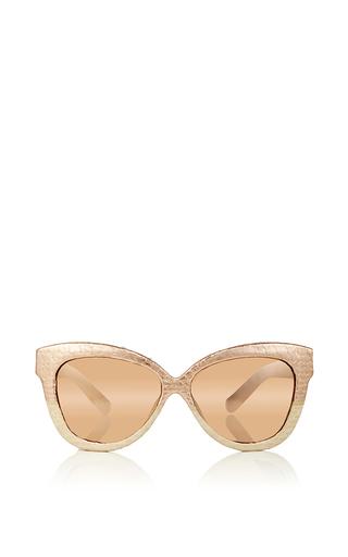 Rose gold snakeskin cat eye sunglasses by LINDA FARROW Now Available on Moda Operandi