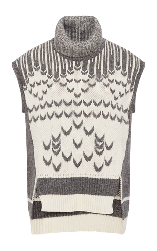 Wool cotton blend turtleneck sleeveless sweater by PRABAL GURUNG Now Available on Moda Operandi