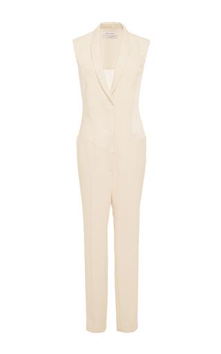 Sleeveless tailored chiffon paneled jumpsuit by PRABAL GURUNG Now Available on Moda Operandi