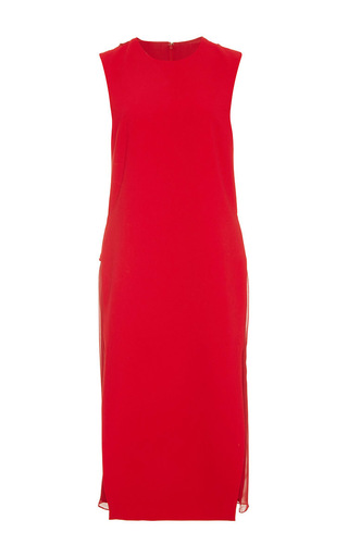 Red crepe pleated chiffon back dress  by PRABAL GURUNG Now Available on Moda Operandi