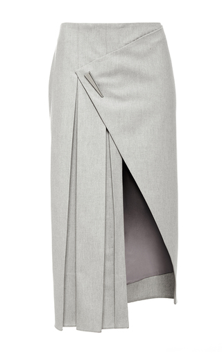Grey wool pleated midi skirt by PRABAL GURUNG Now Available on Moda Operandi