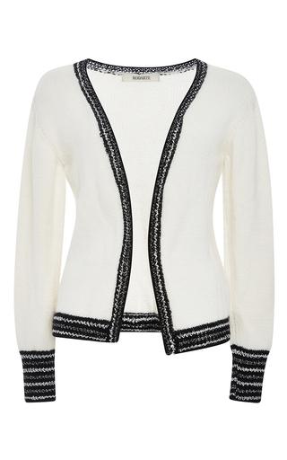 White and metallic cashmere knit cardigan by RODARTE Now Available on Moda Operandi