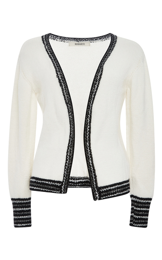 White And Metallic Cashmere Knit Cardigan by RODARTE Now Available on Moda Operandi