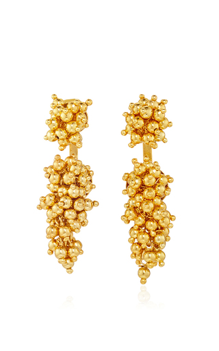 Gold plated two grapes and two mulberries earrings  by PAULA MENDOZA Now Available on Moda Operandi