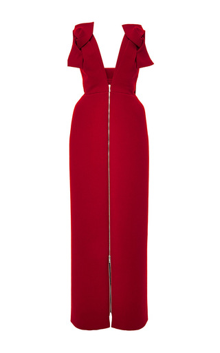 Wool crepe v neck long dress by DELPOZO Now Available on Moda Operandi