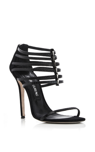 Black lizard leather multi strap sandals by PRABAL GURUNG Now Available on Moda Operandi