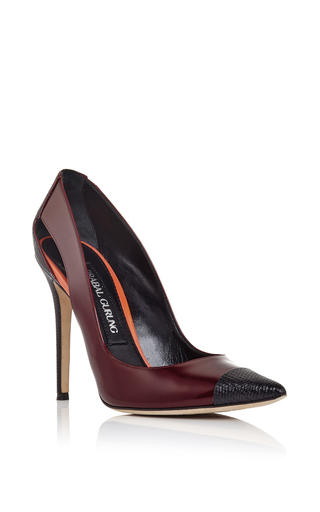Burgundy and black snakeskin pumps  by PRABAL GURUNG Now Available on Moda Operandi