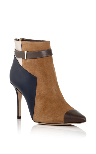 Suede, Calfskin And Snakeskin Leather Belted Ankle Boots by PRABAL GURUNG Now Available on Moda Operandi