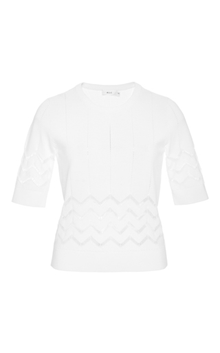 White vincent short sleeved zig zag top by A.L.C. Available Now on Moda Operandi