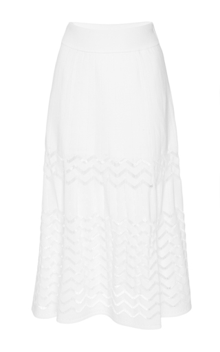 White snyder zig zag skirt by A.L.C. Available Now on Moda Operandi