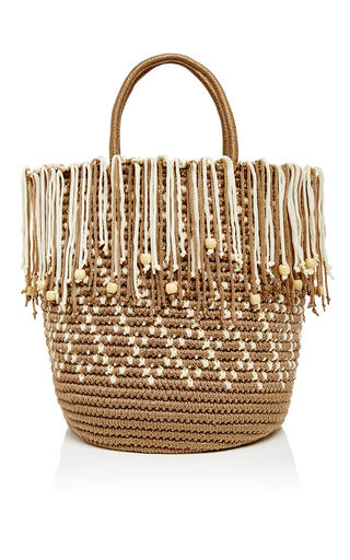 Ivory woven cord fringed tote  by SENSI STUDIO Now Available on Moda Operandi