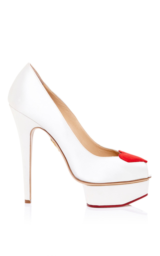 Charlotte olympia delphine pump in silk satin by CHARLOTTE OLYMPIA Preorder Now on Moda Operandi