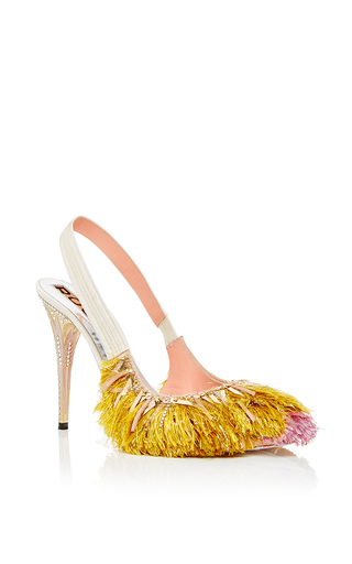 Pink and gold fringed slingback heels by ROCHAS Now Available on Moda Operandi