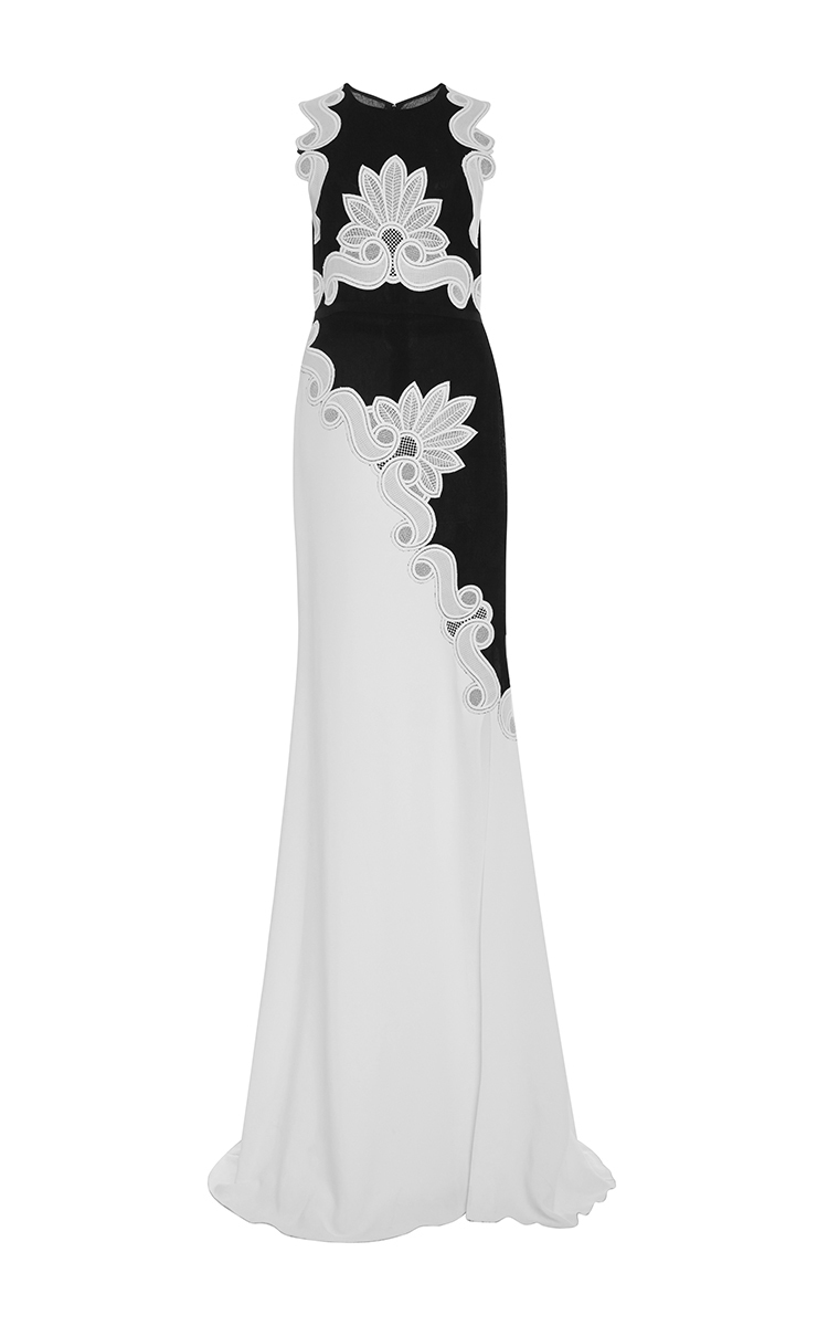 ANTONIO BERARDI Two Tone Sleeveless Gown With Lace Appliques