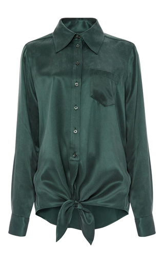 Green Silk Archive Luis Tie Front Shirt  by EQUIPMENT Now Available on Moda Operandi