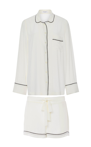 White Silk Lillian Pajama Set  by EQUIPMENT Now Available on Moda Operandi