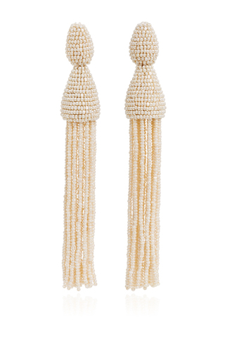 Ivory tassel earrings by OSCAR DE LA RENTA Now Available on Moda Operandi
