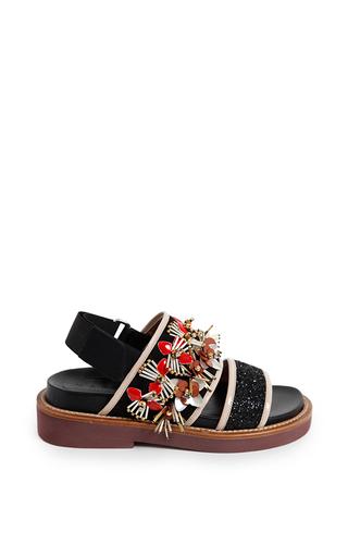 Coal & flamingo embellished fussbett sandal by MARNI for Preorder on Moda Operandi