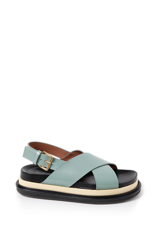 White pepper & light yellow fussbett sandals by MARNI for Preorder on Moda Operandi