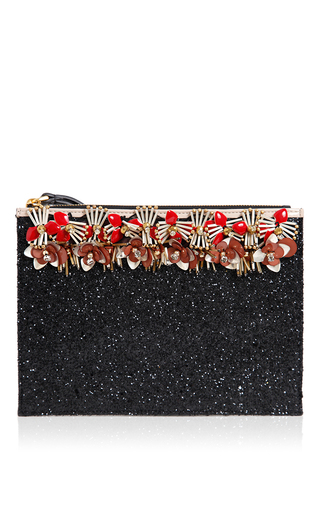Black & hot red embellished clutch by MARNI for Preorder on Moda Operandi