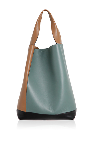 Rasin & tea leather shoulder bag by MARNI for Preorder on Moda Operandi