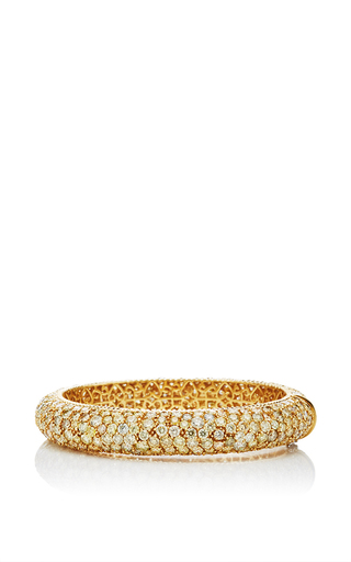One of a kind 18k yellow gold diamond bangle by NINA RUNSDORF Now Available on Moda Operandi