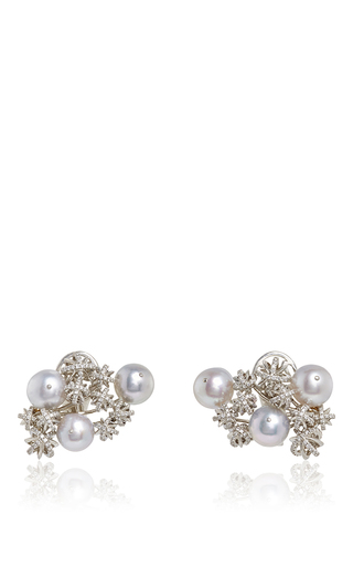 Platinum and pearl snowflake cluster earrings by ALEXANDRA MOR Now Available on Moda Operandi