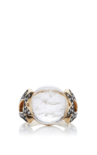 Fly me to the moon amore round cabochon ring  by NOOR FARES Now Available on Moda Operandi