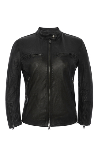 Black café racer leather jacket by R13 Now Available on Moda Operandi