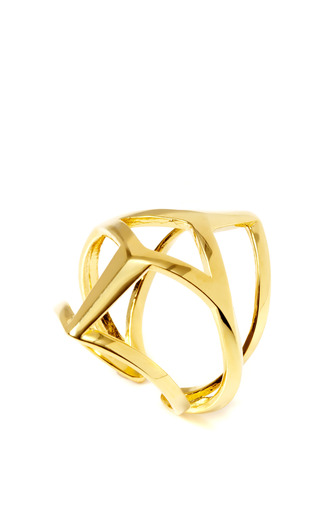 Geometric Gold-Plated Edie Ring by Eddie Borgo Now Available on Moda Operandi