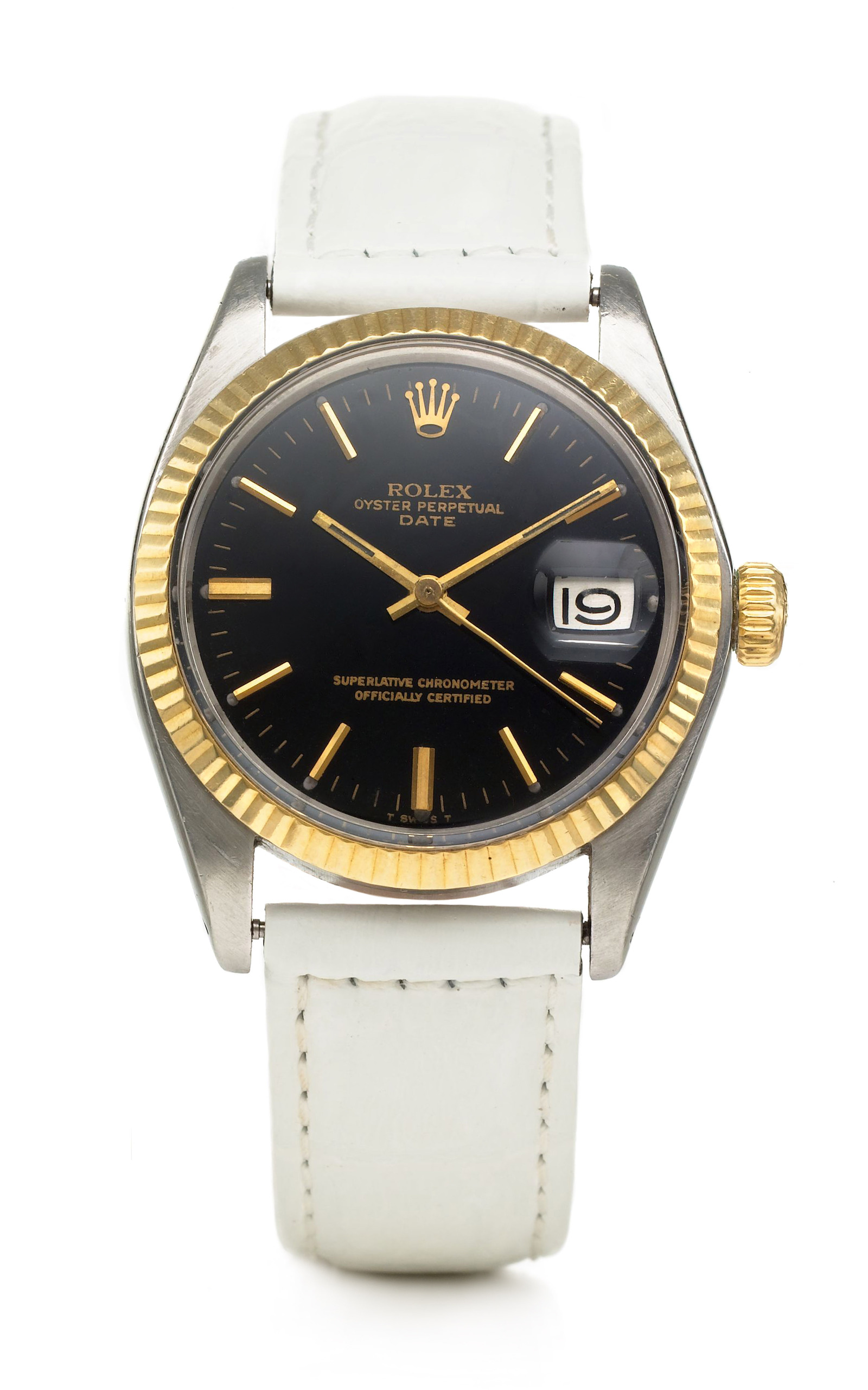 Rolex Oyster Perpetual DateJust Black Face Watch by | Moda ...