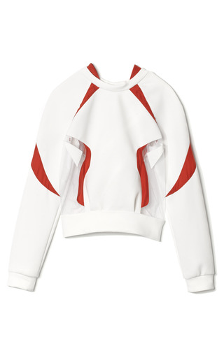 Medium prabal gurung white tulle insert neoprene sweatshirt