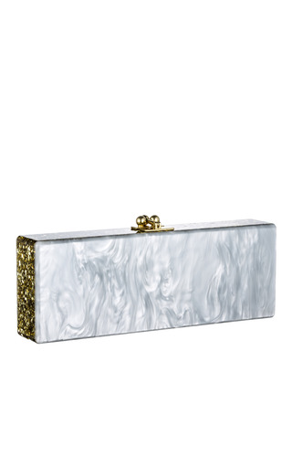 Medium edie parker gold pearl pearlescent flavia clutch with gold confetti ribbon