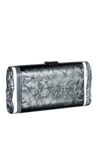 Medium edie parker metalic steel pearlescent lara clutch
