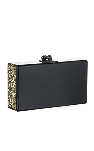 Medium edie parker gold black jean clutch with gold confetti ribbon