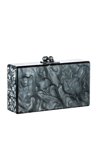 Medium edie parker silver pearlescent steel jean clutch with silver confetti ribbon