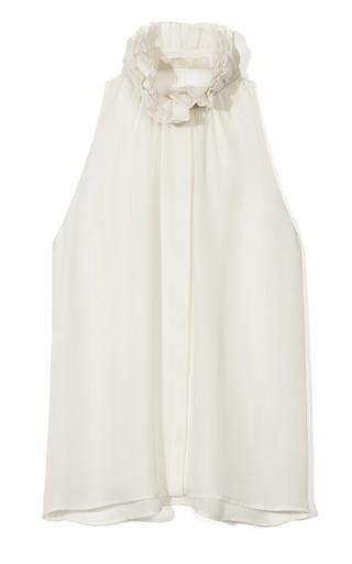 Medium honor white sleeveless ruffle blouse