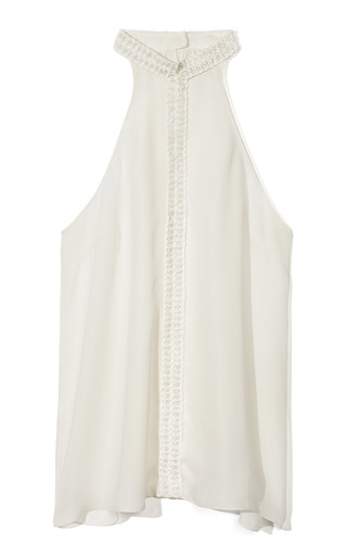 Medium honor white sleeveless top with macrame trim