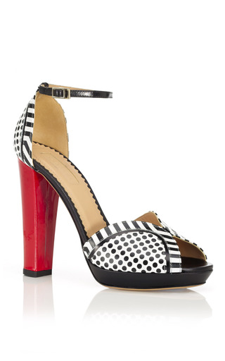 Medium aquazzura red black white and red cosmopolitan sandal