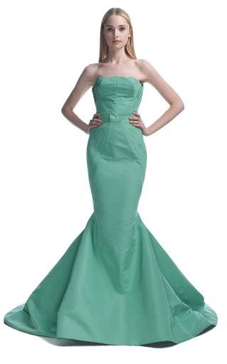 Medium zac posen green celadon green mermaid evening gown