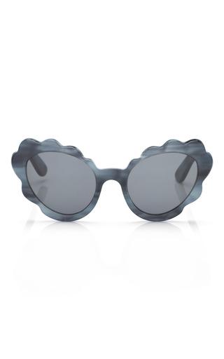 Medium opening ceremony off white flower cat eye sunglasses in blue indigo pearl