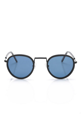 Medium opening ceremony navy inlayed metal sunglasses in matte black