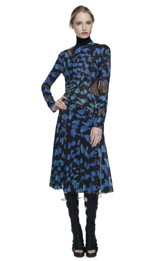 Medium proenza schouler print blue bug print long sleeve pieced dress